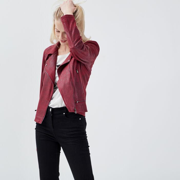 Veste esprit motard zippée bordeaux femme