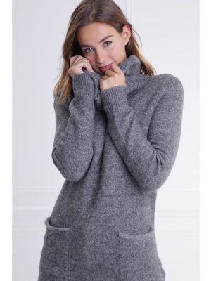 Tunique col boule avec poches gris fonce femme