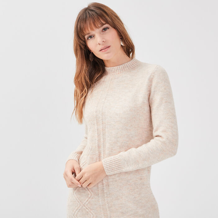 Robe pull droite à col montant creme femme