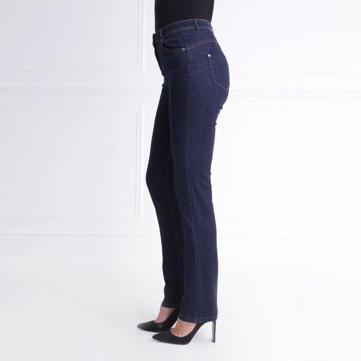 Jeans ajusté taille haute denim brut femme