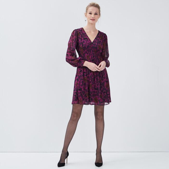 Robe évasée taille smockée violet femme