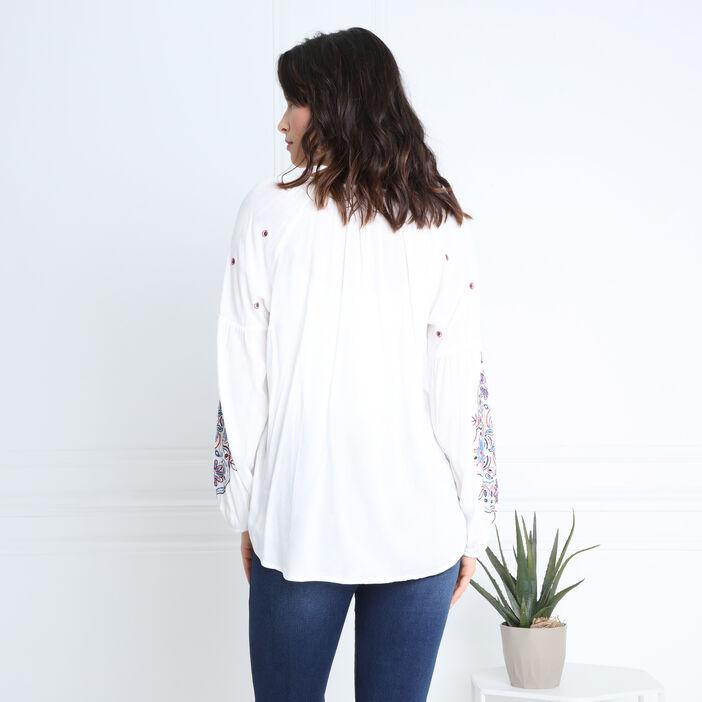 Chemise manches brodées blanc femme