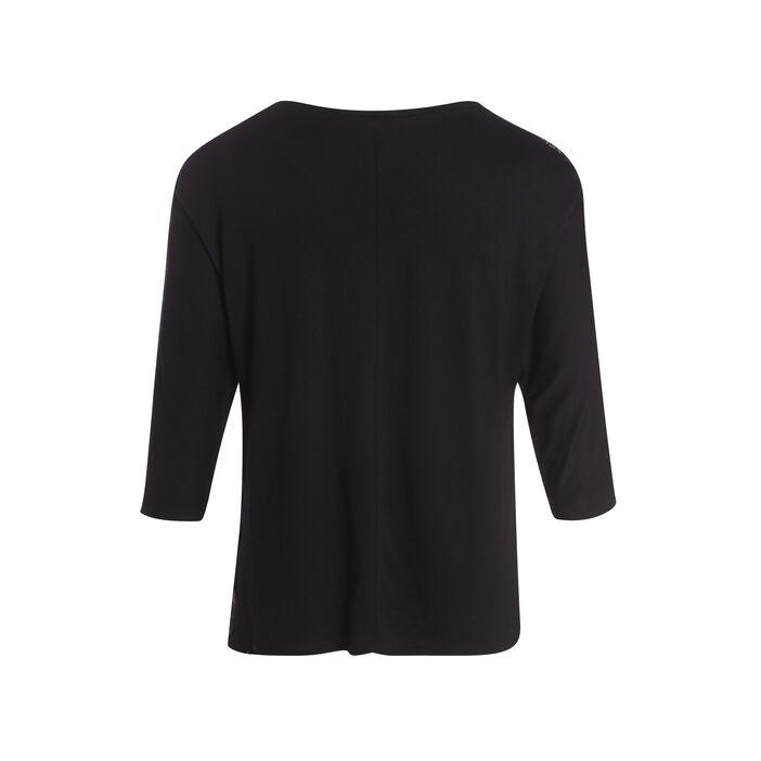 T-shirt manches 3/4 détails avant noir femme