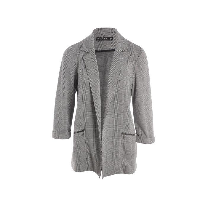 Veste mi-longue poches zippées gris foncé femme