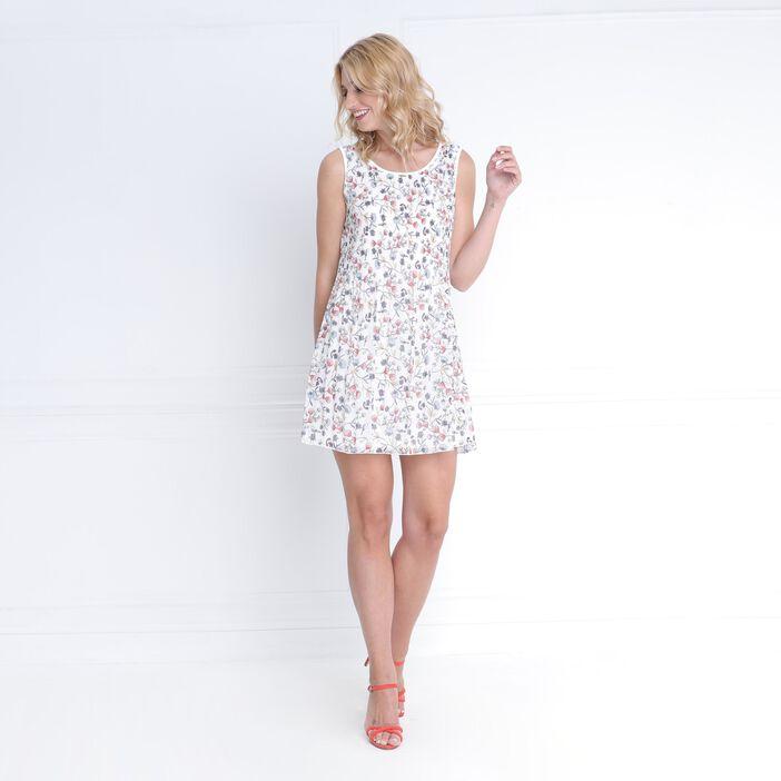 Robe courte fluide plissée blanc femme