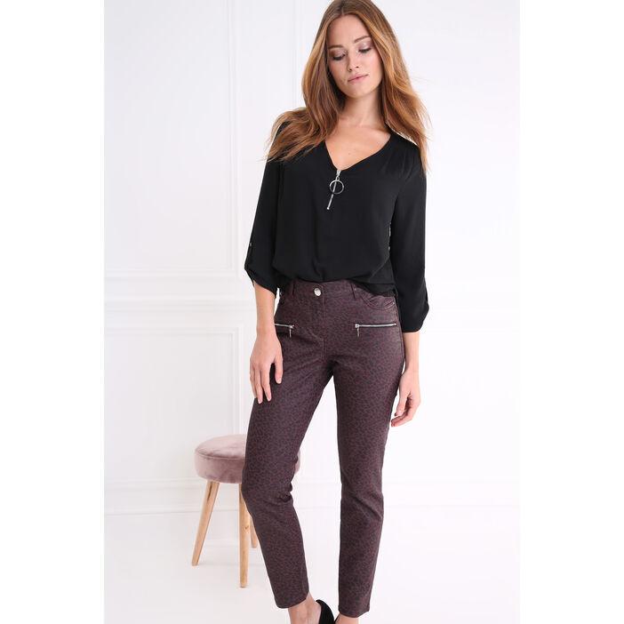 Pantalon taille haute coupe ajustée prune femme