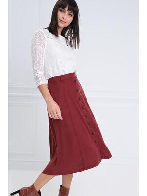 Jupe longue evasee boutonnee rouge fonce femme