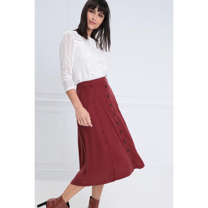 Jupe longue évasée boutonnée rouge foncé femme