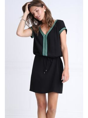 Robe droite taille a coulisse noir femme