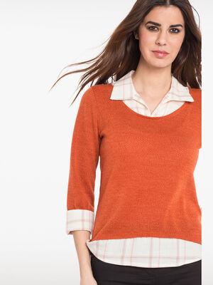 Pull 2 en 1 col chemise a carreaux orange femme