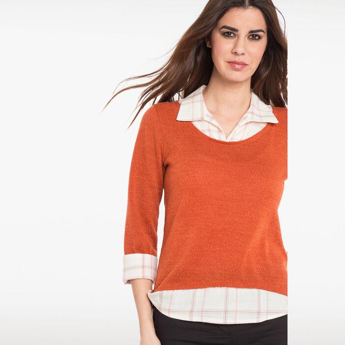 Pull 2 en 1 col chemise à carreaux orange femme