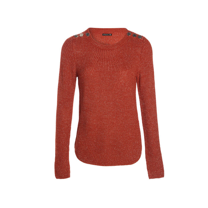 expédition gratuite 2019 meilleures ventes 60% pas cher Pull fantaisie à épaules boutonnées rouge femme   Bréal