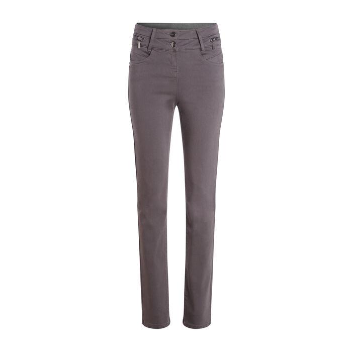 Pantalon ajusté taille haute gris foncé femme