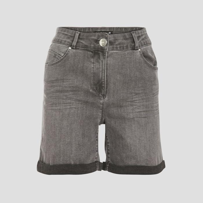 Short droit en jean gris femme