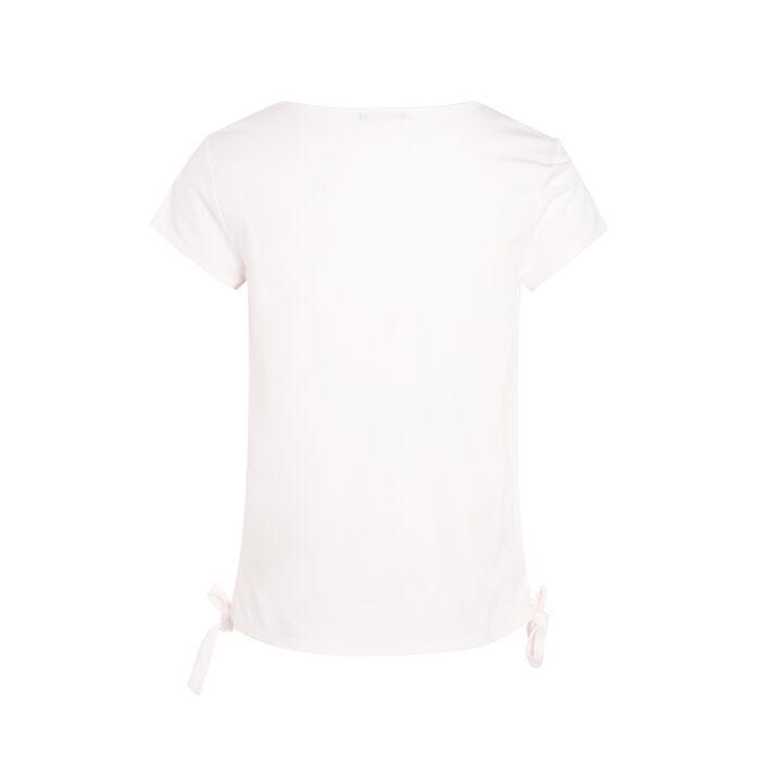 T-shirt avec empiècement macramé vieux rose femme