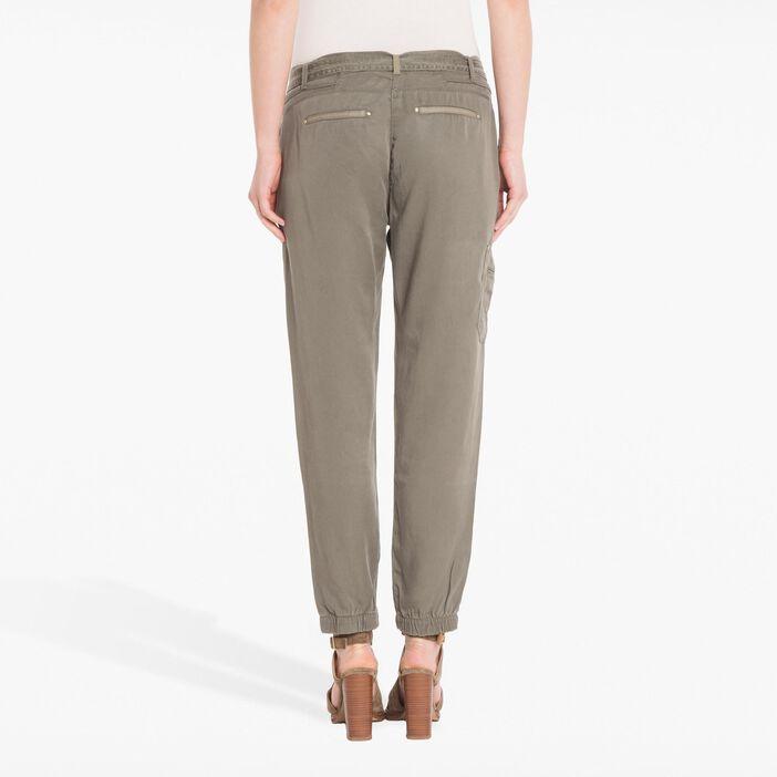 Pantalon 7/8ème fluide vert foncé femme
