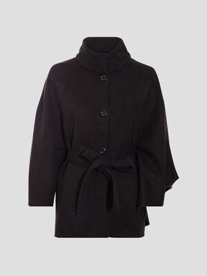 Poncho boutonne ceinture noir femme