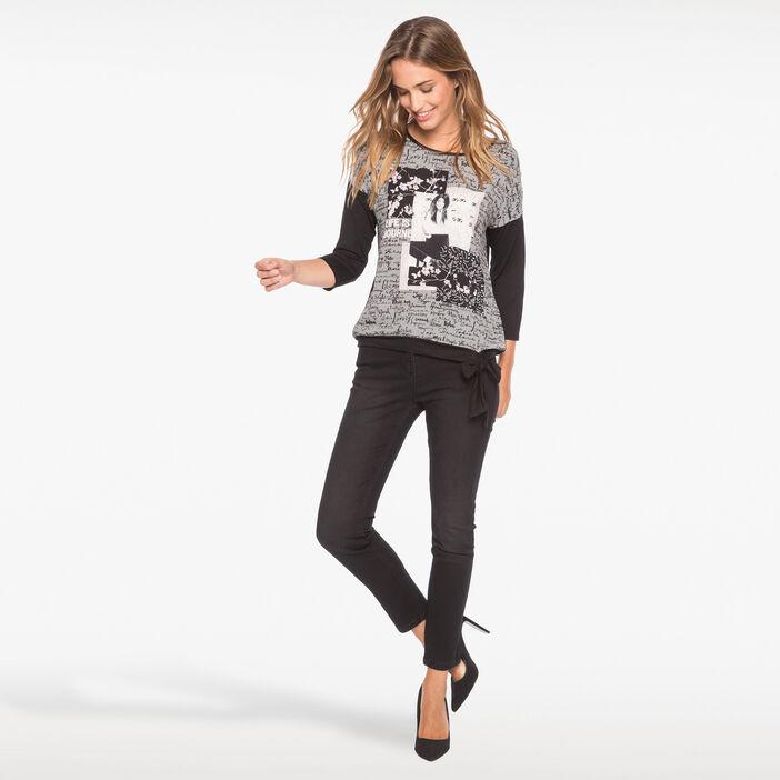 T-shirt bimatière motif fantaisie noir femme