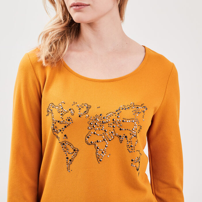 T-shirt manches 3/4 strass jaune moutarde femme