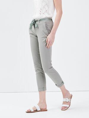 Pantalon chino ajuste ceinture vert clair femme
