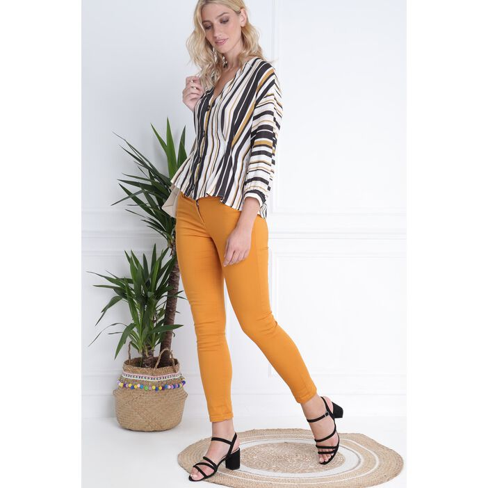 Pantalon taille basculée jaune moutarde femme