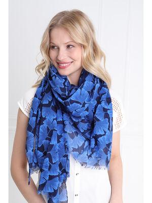 Foulard coton bleu femme