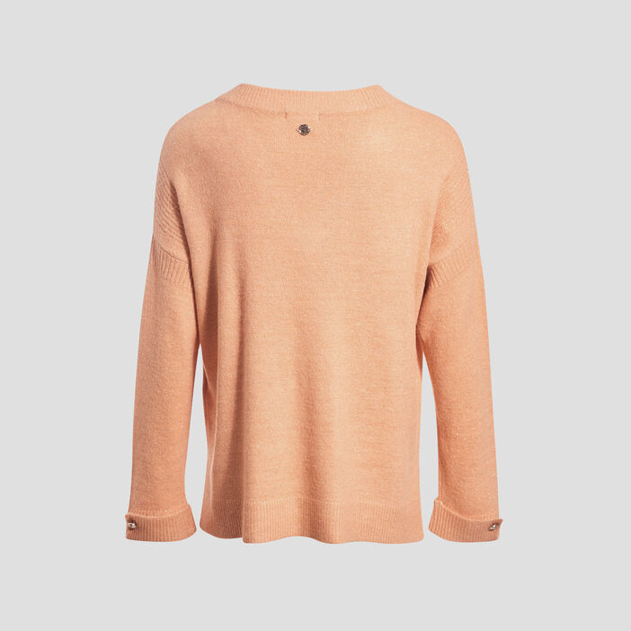 Pull manches longues orange clair femme