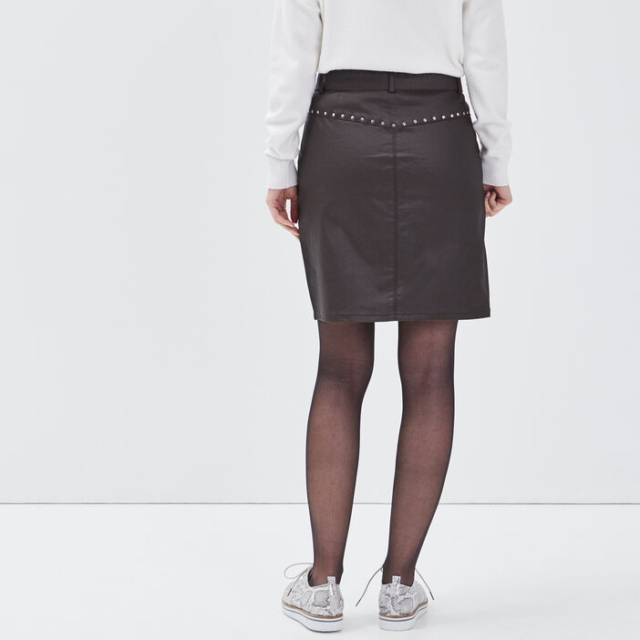Jupe droite enduite détails cloutés marron foncé femme