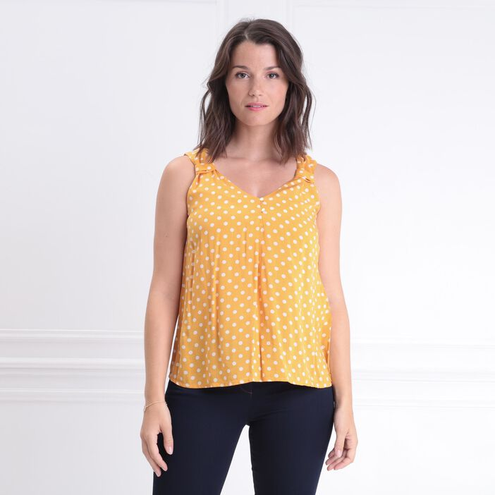 Blouse sans manches col en V jaune or femme