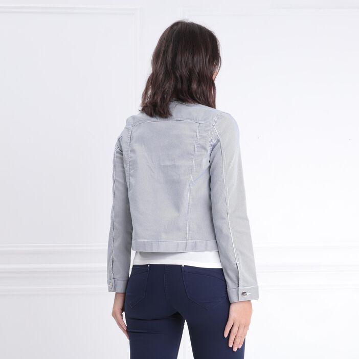 Veste droite zippée ecru femme