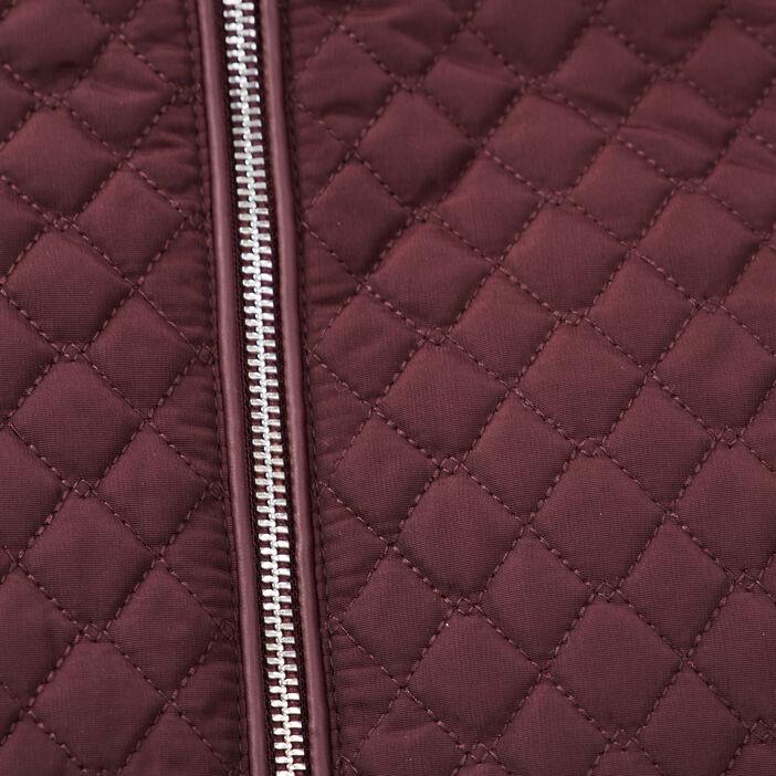 Doudoune droite zippée violet foncé femme