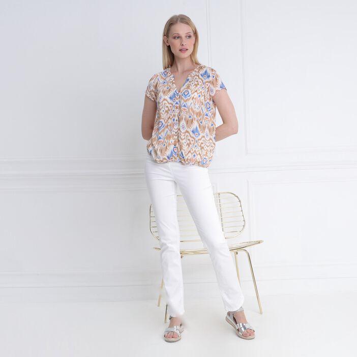 Blouse manches courtes amples blanc femme