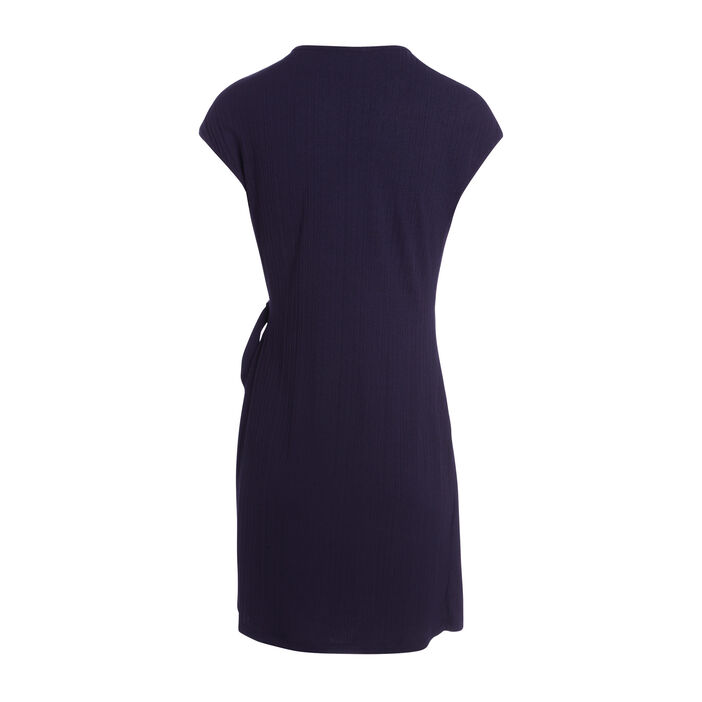 Robe courte ajustée nouée bleu foncé femme