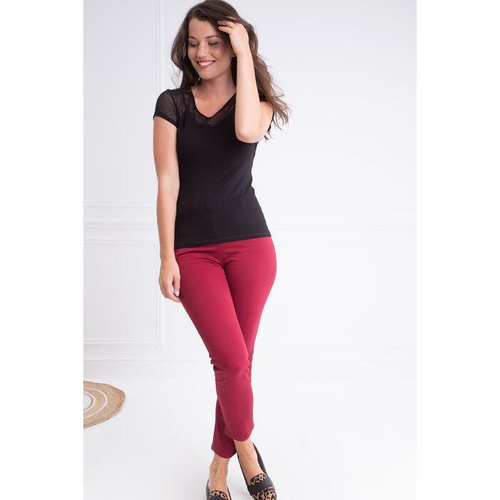 Pantalon taille haute coupe ajustée rouge femme