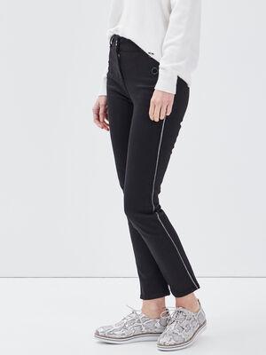 Pantalon ajuste effet pont noir femme