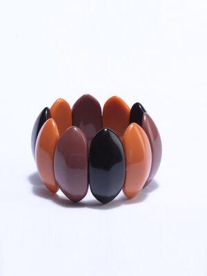 Bracelet manchette perles noir femme