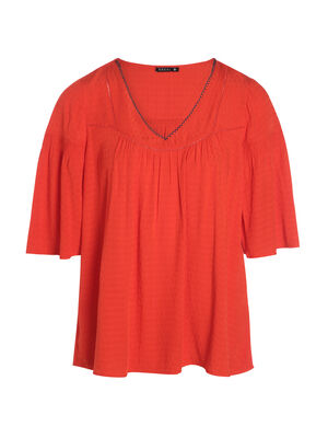 Blouse manches 34 rouge corail femme
