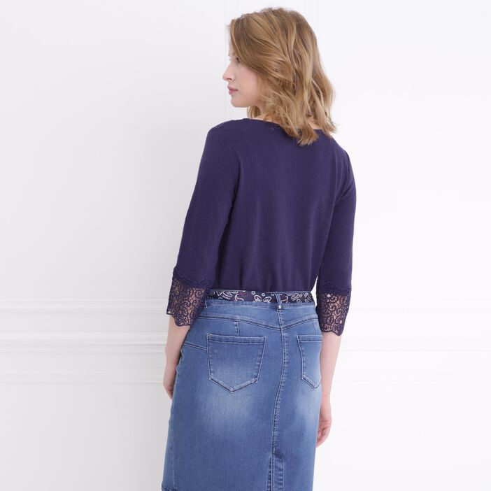 T-shirt manches bas macramé 3/4 bleu femme