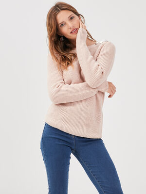 Pull fantaisie a epaules boutonnees vieux rose femme