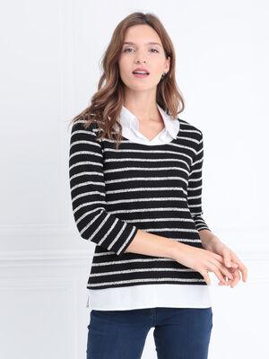 T shirt manches 34 2 en 1 noir femme