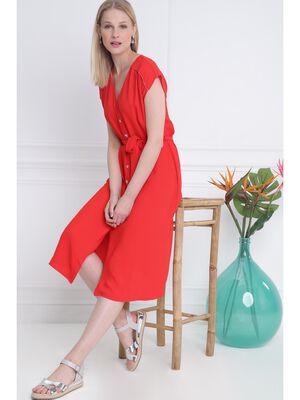 7fd3df97195 Robe unie boutonne devant rouge femme