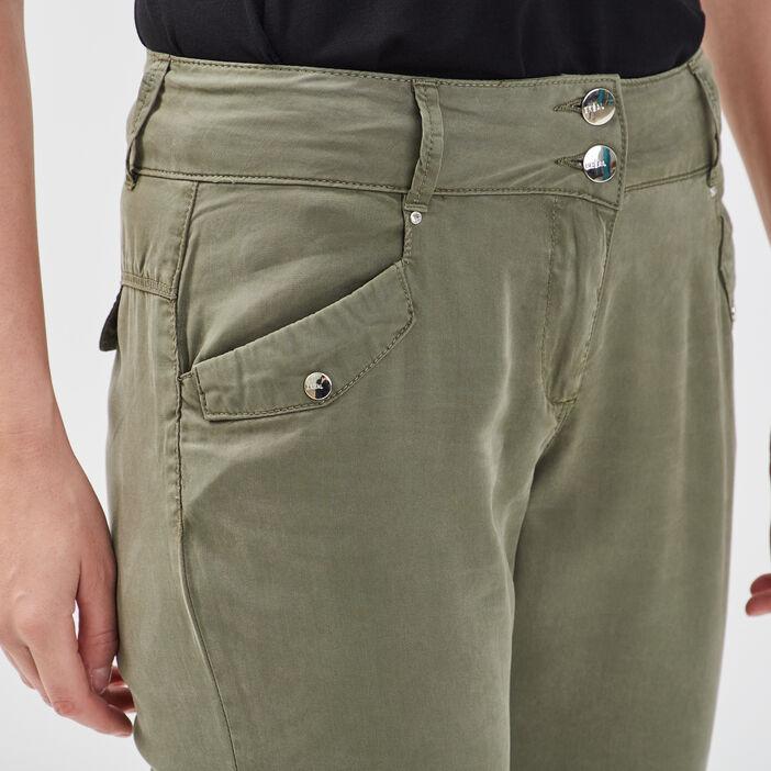 Pantalon flou taille basculée vert kaki femme