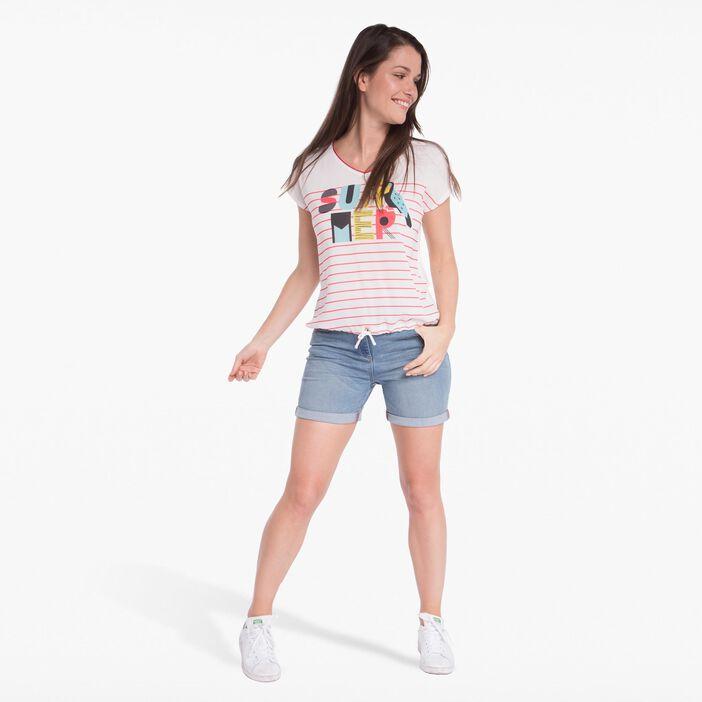 T-shirt avec rayure ecru femme