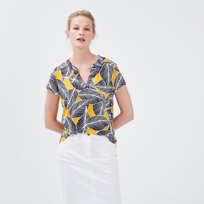 T-shirt manches courtes jaune femme
