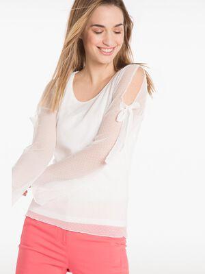 T shirt manches longues plumetis plisse ecru femme
