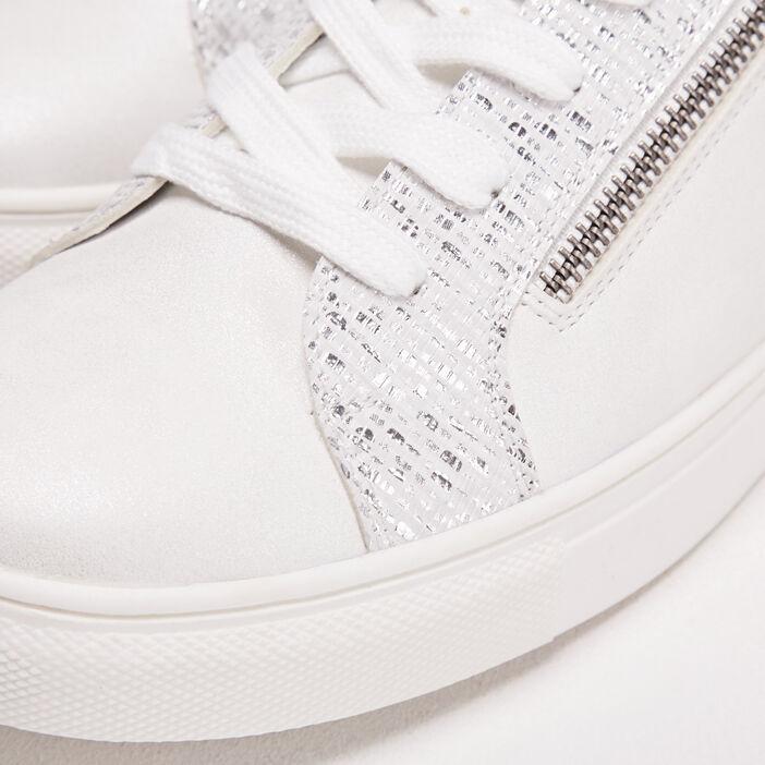 Baskets plates détails zippés ecru femme