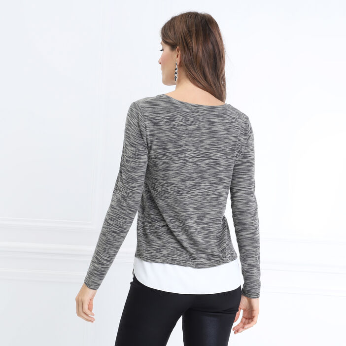 T-shirt manches longues gris femme
