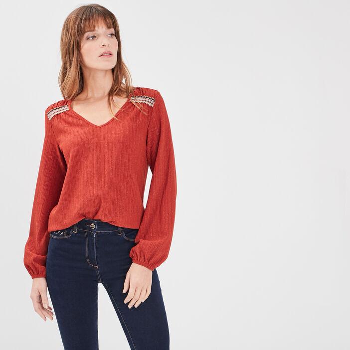 T-shirt manches longues orange foncé femme