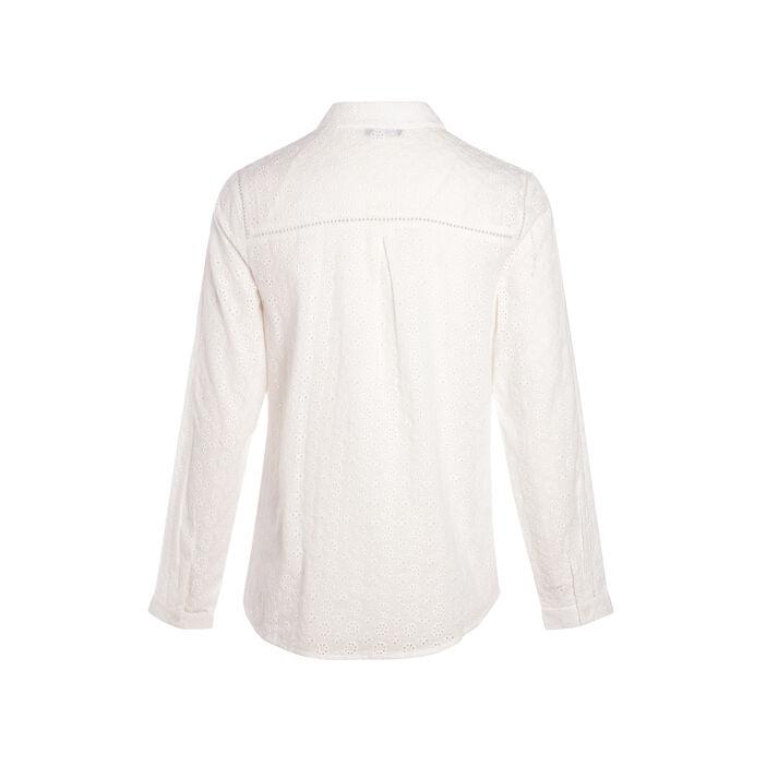 Chemise avec broderies anglaises unie ecru femme