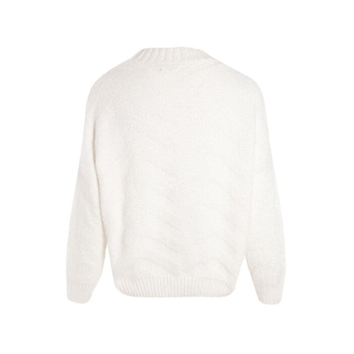 Pull col rond maille chevrons ecru femme